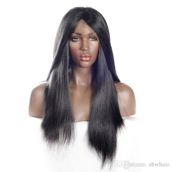 Yaki Peruca Dianteira Do Laço Sintético Para As Mulheres Negras Fibra Resistente Ao Calor Longo Luz Glueless Yaki Em Linha Reta Perucas Sintéticas Com Cabelos Do Bebê