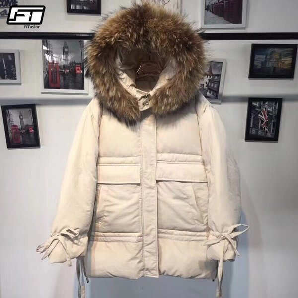 fitaylor winter hooded parkas women real raccon fur collar down jacket female warm slim white duck down overcoat snow outwear