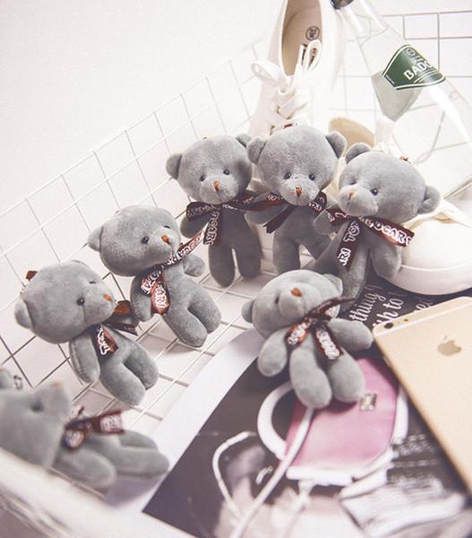 Korea-Bär 10 / 20pcs 12cm reizender vorzüglicher kleiner hängender Plüschtier-Teddybär, Hochzeitsblumenstrauß-tierische weiche Puppe Keychain Mädchen-Geschenk J190718