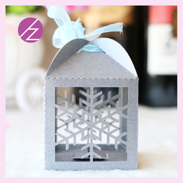 50pcs/lot Snowflake Theme Wedding Candy Boxes Favor Holders Design With Ribbon Birthday Party Theme Grand Events Boxes