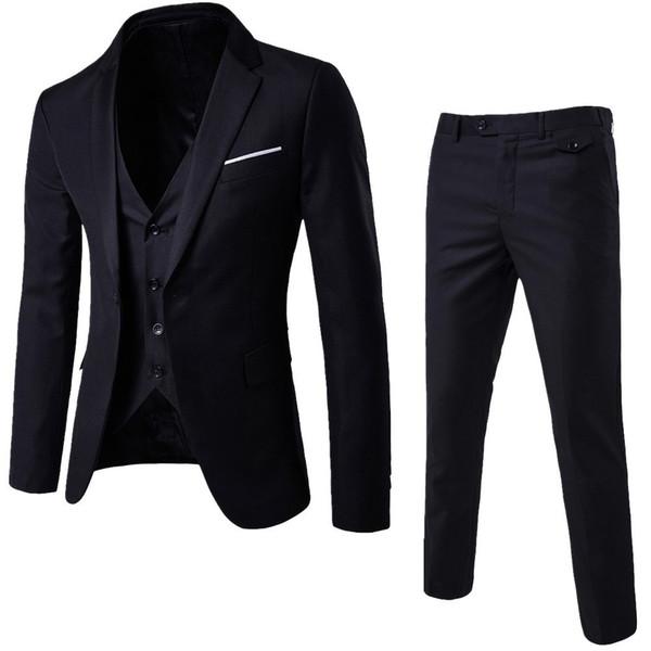 Laamei Mens 3 pezzi (giacca + gilet + pantaloni) Abito Busines uomo Abiti aderenti Tinta unita Casual Abiti ufficio Outwear Asiatico L = us Xs Y190418