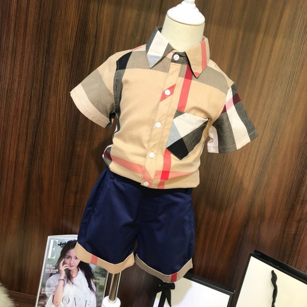 Nova moda selvagem mais novo verão simples xadrez clássico terno crianças roupas infantis roupas
