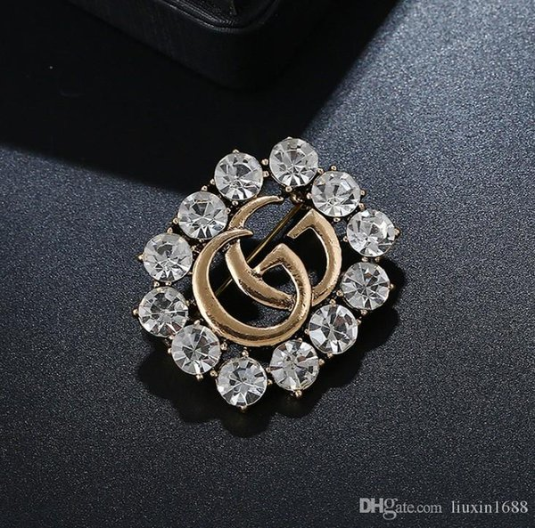 letter pin 2019 new hot selling fashionable exquisite hollowed out full drill brooch free shipping