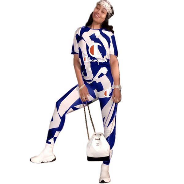 Champions Kleidung Frauen Trainingsanzug Kurzarm T-Shirt Hosen Zweiteiler Outfits Sommer Kuh Streifen Jogger Casual Anzug Sportbekleidung A3151