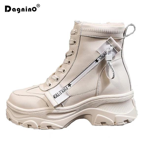 Mulheres Botas de Neve de Fundo Grosso 2019 Lace Up Martin Botas Femininas Tornozelo Com Zíper Marca Inverno Quente Plataforma Sapatos de Salto Cunha