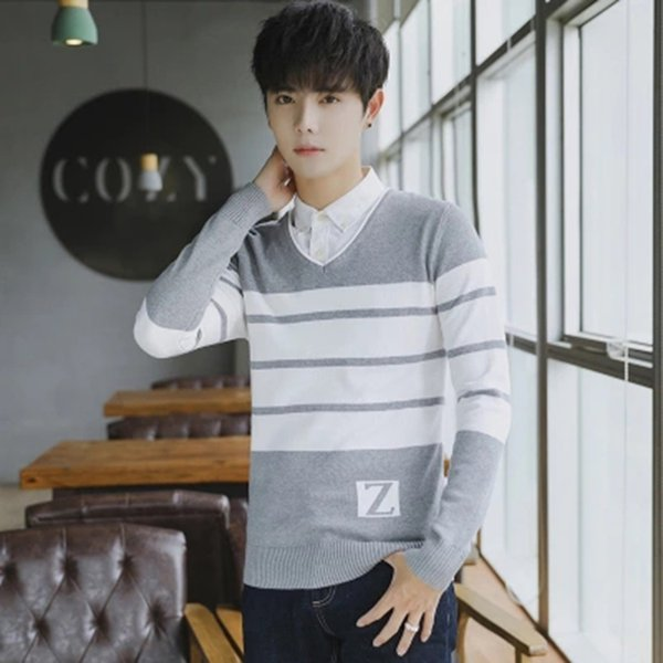 New Fashion Striped Sweater Long Sleeve 2019 Fashion Man Sweater Casual Urban Moda Outono Inverno Masculina Mens Clothing DD5MY