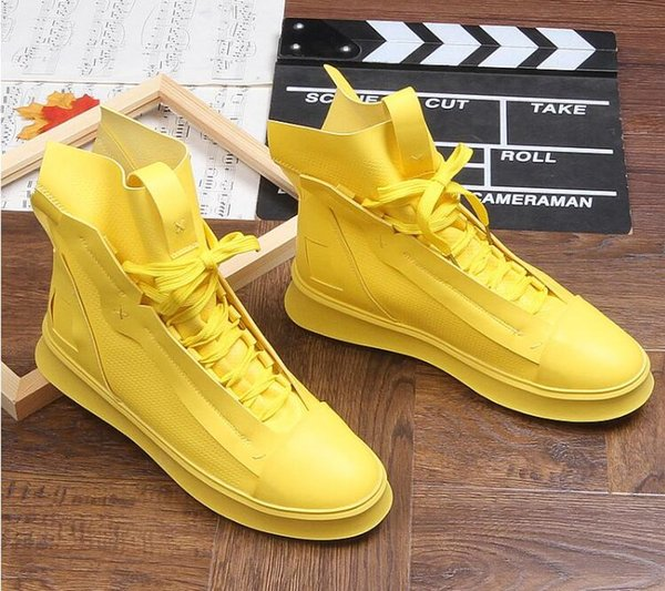 2019 streets Trendy Men's Designer Shoes high tops zipper Platform Casual Flats lace-up Shoes Male Dress Wedding Prom shoes