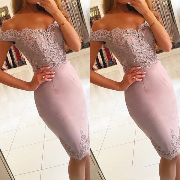 Elegant Off-the-Shoulder Short Prom Dress 2019 Lace Mermaid Homecoming Dress Cocktail Party Gowns Mother of the Bride Formal Gown