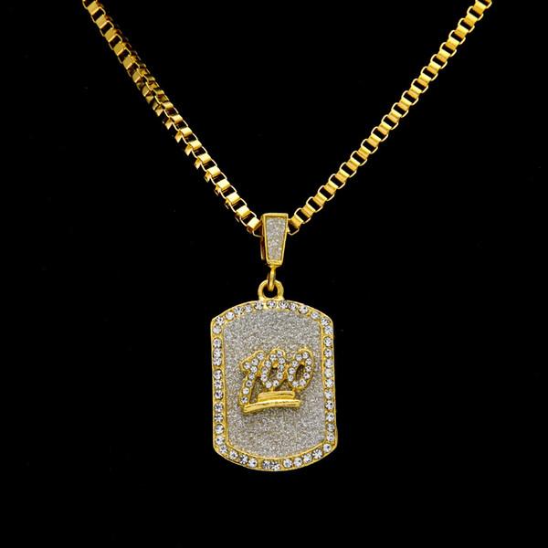 2 Arten Hip Hop Herren Gold Iced Out Strass 100 Jesus Portrait DogTag Armee Karte Kette Halskette Box Ketten Rapper Schmuck Geschenke für Jungen