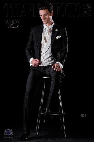 Moda Bir Düğme Groomsmen Tepe Yaka Damat Smokin Erkek Takım Elbise Düğün / Balo / Akşam Yemeği İyi Adam Blazer (Ceket + Pantolon + Kravat + Yelek) 569