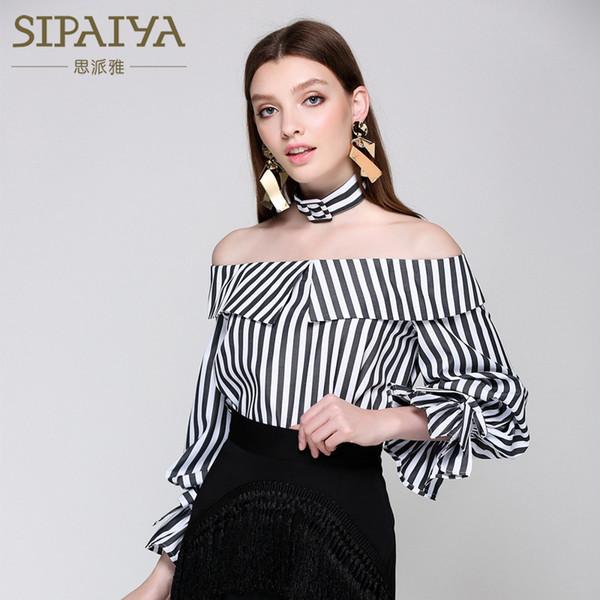 Nova jaqueta de gola à prova de ombro moda europeu e americano no verão de 2019, camisa listrada de lótus slim-edged