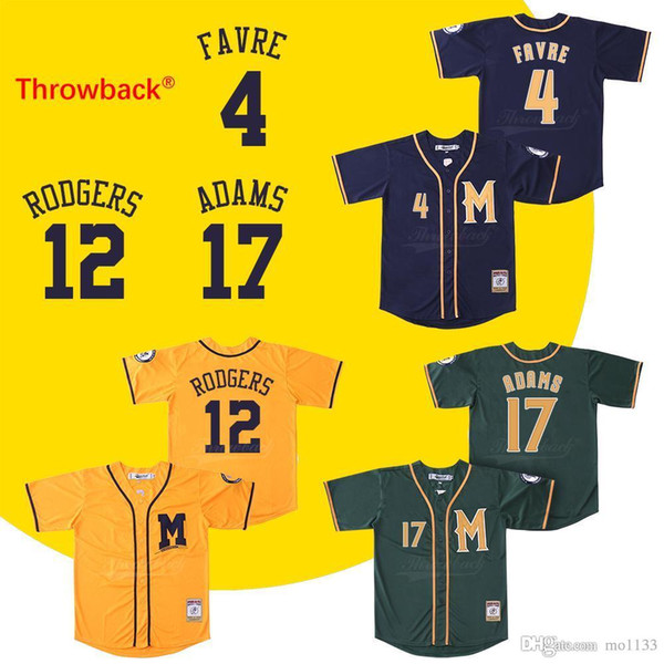 the latest 3e247 edbc2 2019 Throwback Baseball Jerseys Men'S Milwaukee Jersey 4 Rodgers 12 Rodgers  17 Adams Jersey Shirt Stiched Green Yellow Blue From Mo1133, $46.71 | ...