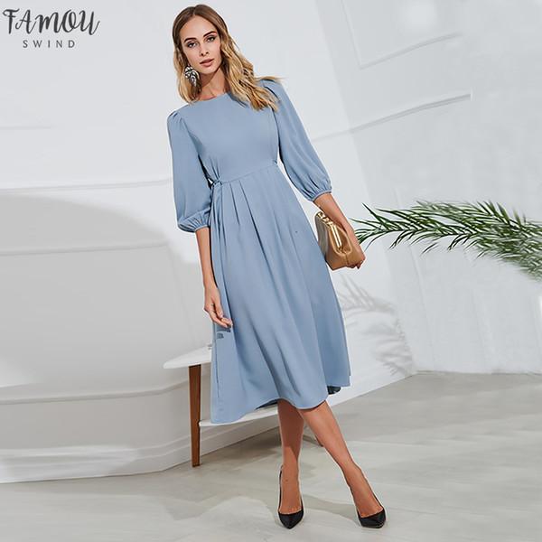 Abito elegante del partito Office Lady Blue Button vestito dalla fasciatura delle donne 2019 primavera-estate mezza manica ginocchio abiti Vestidos