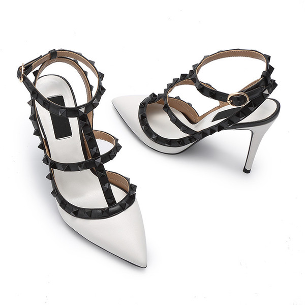 designer shoes pointed toe studs high heels patent leather rivets sandals women studded strappy dress shoes valentine high heel shoes