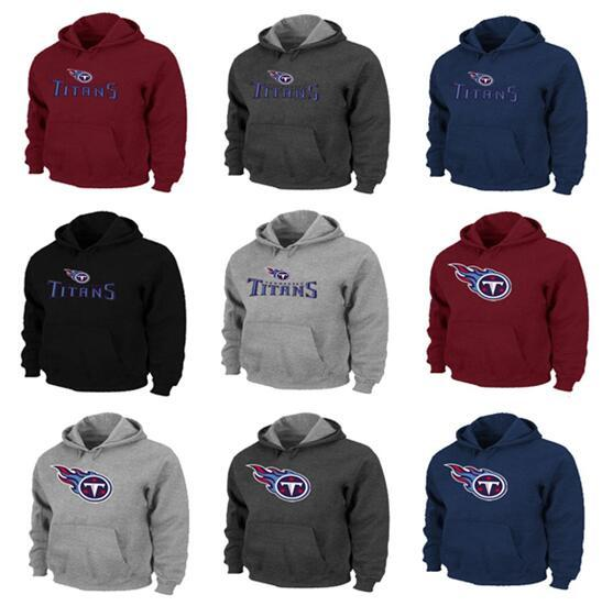 New Style Tennessee Men Titans Pro Line от фанатиков Фирменный красно-синий черный серый серый логотип с капюшоном с логотипом