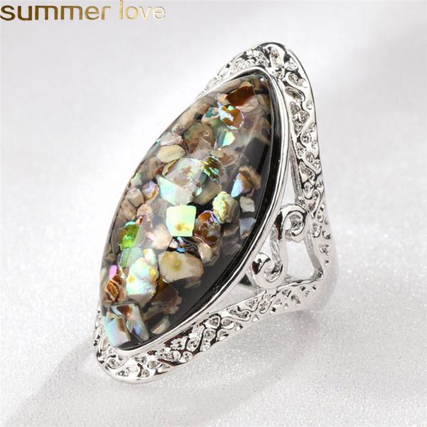 4 Farbe Vintage Antique Silver Shell Ringe Bunte Big Oval Fingerring Für Frauen Weibliche Aussage Boho Beach Jewlery Geschenke