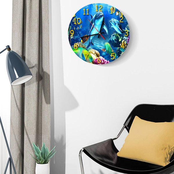 3D Underwater World Printing Digital Wall Clock Nordic Living Room Acrylic Mute Clock Wall Stickers Decoration Ornaments