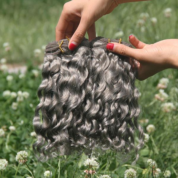 Deep Curly Grey Human Hair 3 Bundles Virgin Peruvian Hair Extensions Deep Wave Gray Hair Bundles Tangle Free For Women Sale