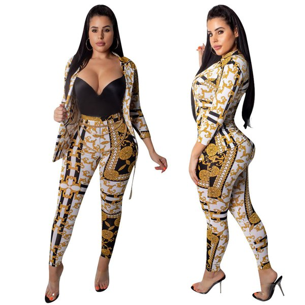 Fashion Gold Print Women Two Piece Set Turn Down Collar 3/4 Sleeve Single Button Cardigan Coat Pencil Pants Business Suit Outfit