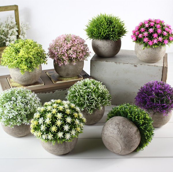 Fake Flower Grass Ball Plastic Bonsai Display Artificial Flowers Simulation Green Plant Restoring Ancient Ways Home Furnishing Table Sets