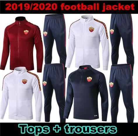 2019/20 Roma giacca della tuta da calcio impostato Chaqueta de Futebol 2019 2020 TUTA TOTTI DE ROSSI AS ROMA giacca calcio cerniera completa SET