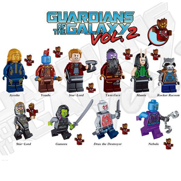 Guardians of the Galaxy Building Block Tree Man Baby Groot Star Lord Rocket Raccoon Gamora Yondu Nebula Toy Mini Action Figure