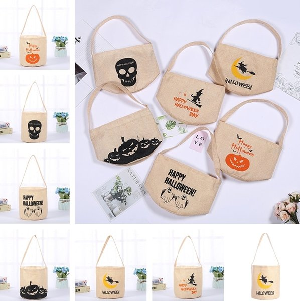 Newest Halloween Candy Bag Night Glow Canvas Candy Sack Bag Pumpkin Witch Print Bucket Catoon Canvas Bags Gift Handbag for Halloween Party