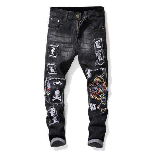 Mens jeans sweatpants joggers jogging track sweat pants winter new worn embroidery tiger skull badge men's slim feet elastic hole jeans