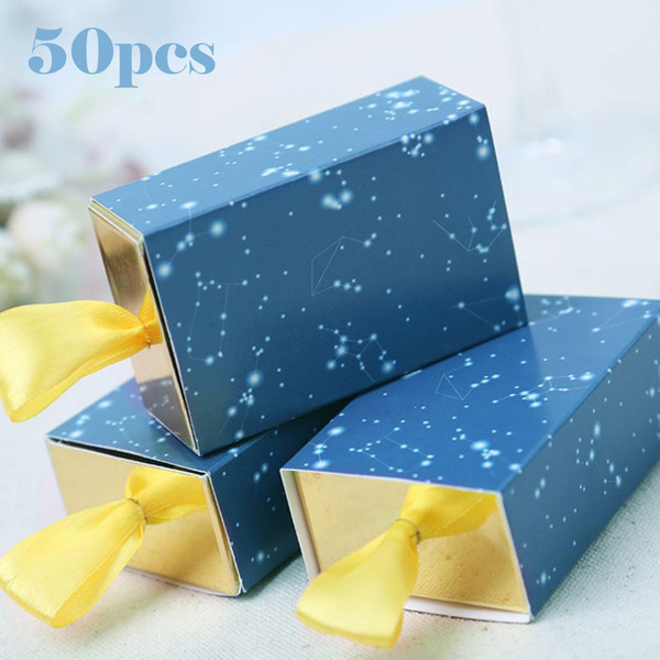 Scatole di caramelle Sacchetto di carta kraft Scatola di popcorn Sacchetto di caramelle 50Pz Scatole regalo bomboniere per matrimonio dolce Scatola di caramelle Scatola per feste Stellato