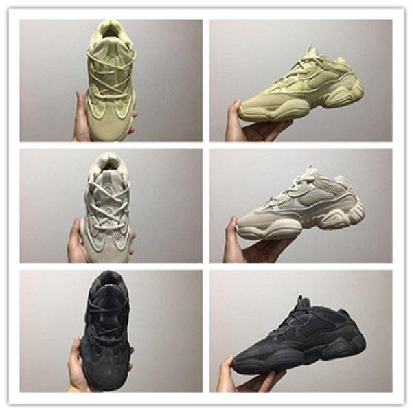 New 500 Salt Running Shoes Mens Womens Desert Rat 500 Utility Black Blush F36640 DB2908 EE7287 Kanye West Designer Boots with original box