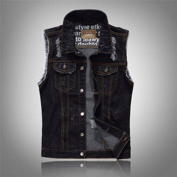 New high-grade brand Denim Vest Mens Sleeveless Jackets Fashion Washed Jeans Waistcoat Mens Cowboy Male Ripped Tank Top Jacket