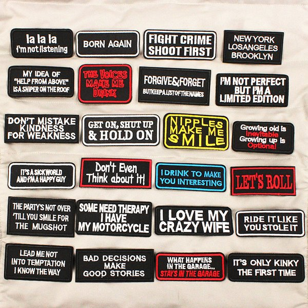 Lettere Black White Written Words Patch Ricamato Badge Hippie Iron On Patches Vestiti Jeans Jeans Badge