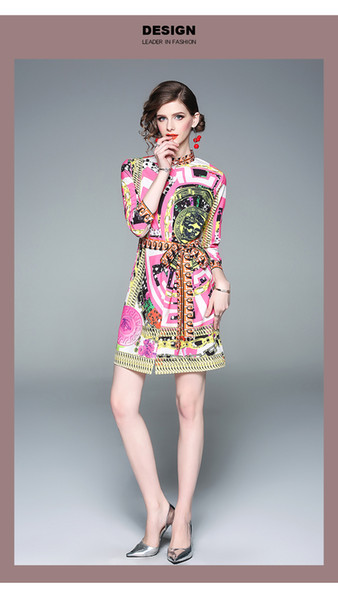 Italy 2019 Spring and Autumn Fashion Show New Women's Elegant High-end Thin Silk Print Shirt Dress