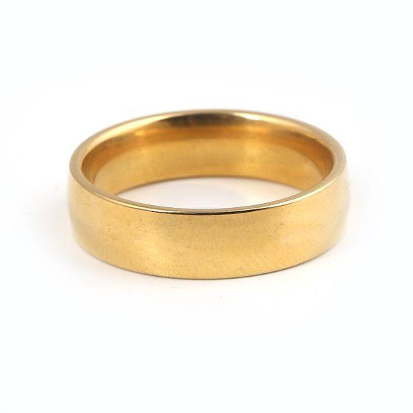 Moda anello 24k pianura 4mm Anello moda italiana Anello di fidanzamento a forma di anello da sposa colore oro