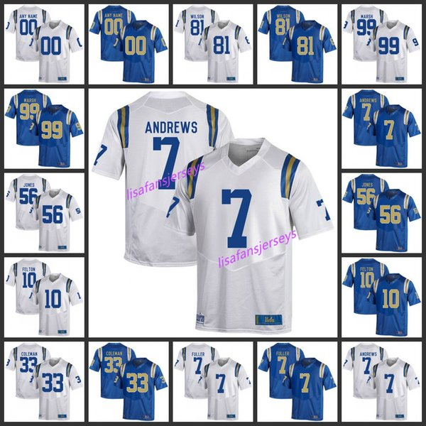 competitive price 1ef49 b724e Mens UCLA Bruins Jerseys 81 Caleb Wilson 99 Cassius Marsh 7 Darren Andrews  56 Datone Jones Custom Stitched College Football NCAA Jersey UK 2019 From  ...