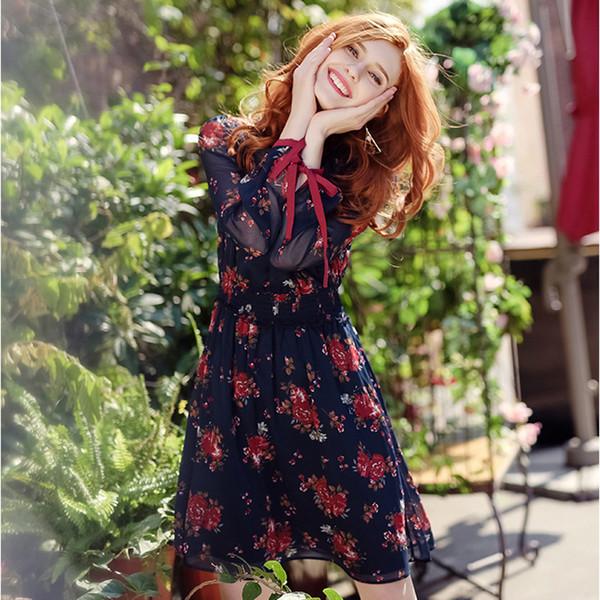 Autunno Donna Vintage maniche lunghe elegante stampa floreale risvolto collo abito in chiffon di alta qualità incontri Essentials Q190510