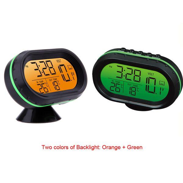 Freeshipping Digital Auto Car Thermometer Voltmeter Voltage Meter Noctilucous Clock Freeze Alert Batteries Car Mutifunction Instrument