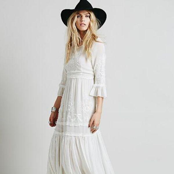 Hippie Boho 2018 Vestidos de verano Bordado floral de playa sexy Vestido largo blanco Vestido largo de mujer Vestido hippie chic Vestido Robes AH210