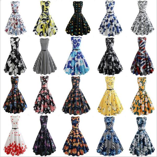 Хепберн Платья Женщины Одежда 50s ретро летнее платье Цветочные винтажные платья Свадебные платье Bodycon Тонкий Vestidos Женская одежда C4755