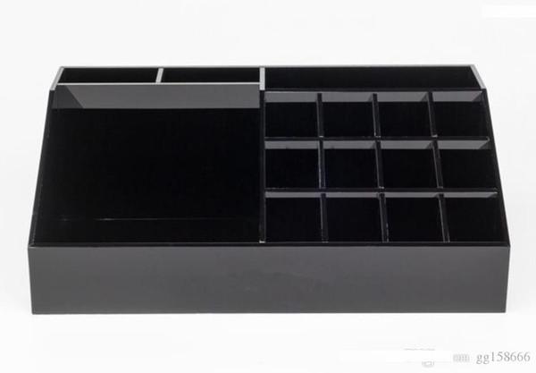 Cadeau VIP classique acrylique Rouge à lèvres noir cosmétiques Présentoir multi-fonction CC Étiquette Boîte de rangement Boîte de rangement et boîte-cadeau