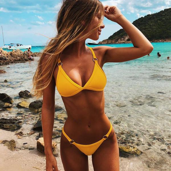 Women Triangle Bikini Top With High Leg Tanga Bikini Bottoms Sexy Solid Bikinis Beach Swimming Suit CCI0111