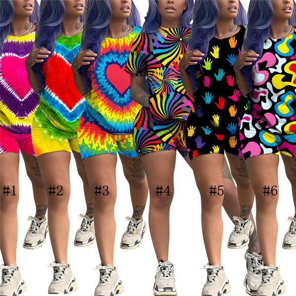Mulheres Tie-Dye Outfits Two Piece Shorts Set coração bonito Impresso Treino Sportswear Casual Streetwear manga curta Pijamas Roupa C71604