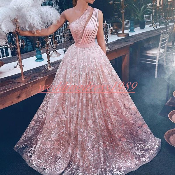 Luxury Lace Beads One Shoulder Dubai Evening Dresses Pageant Pink Said Mhamad Robe De Soiree Arabic Guest Party Plus Size Formal Prom Gown