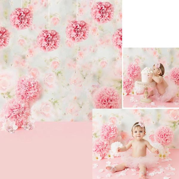 Vinyl Rosa Papierblumen Baby Mädchen Fotografie Hintergrund Neugeborenen Photoshoot Requisiten Kinder Geburtstag Party Foto Hintergrund