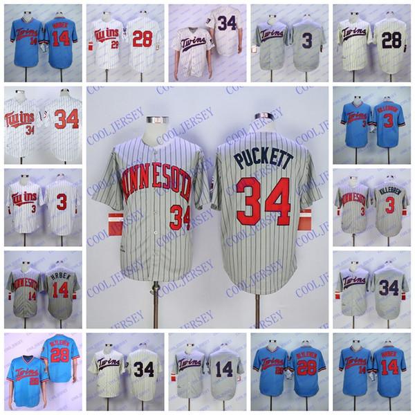 Kirby Puckett Jersey Minnesota Baseball Harmon Killebrew Kent Hrbek Bert Blyleven Grey Pinstripe Blue Pullover