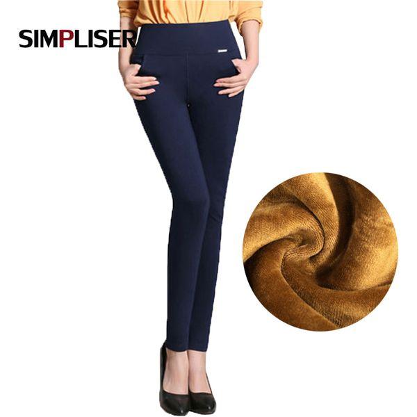 Winter pants women Office Thick Warm Fleece High Waist pencil pants Stretch black White trousers Plus Size 4XL Leggings T190613