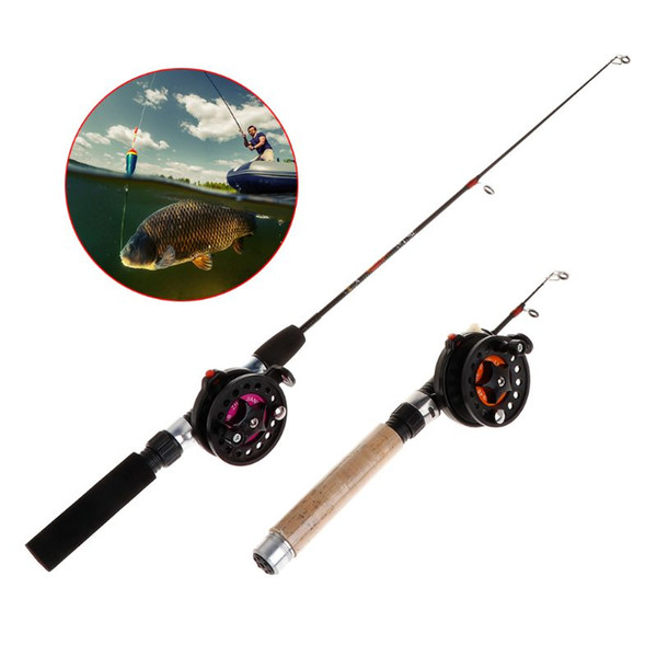 1 set fishing rod with fishing reel ultra short portable mini winter outdoor ice eva handle 4b/3b reels professional tac thumbnail