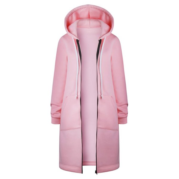 New Autumn Winter Long Cardigan Women Solid Color Hooded Coat Fall Warm Thick Poncho Female Zipper Fashion Coats Plus