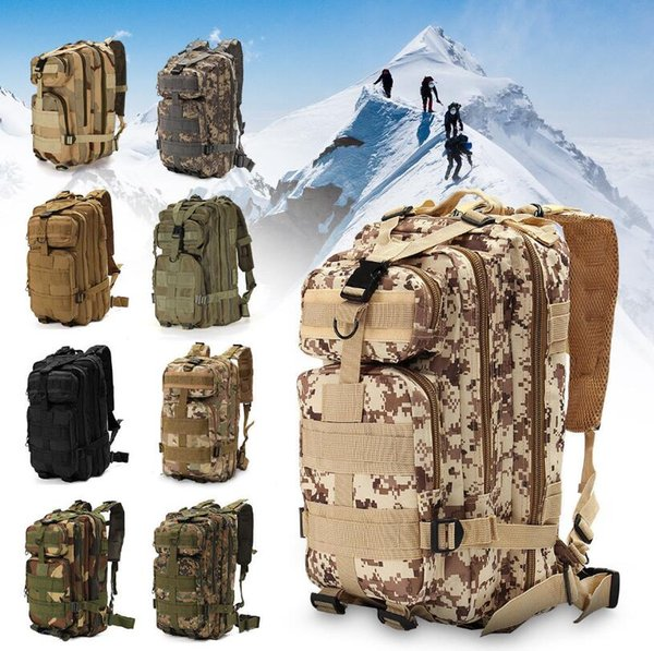 top popular Tactical Camping Military Backpacks Universal Combat Rucksack Trekking Camouflag Army Trekking Bag Hiking Outdoor Sport Bag 10pcs OOA6165 2019