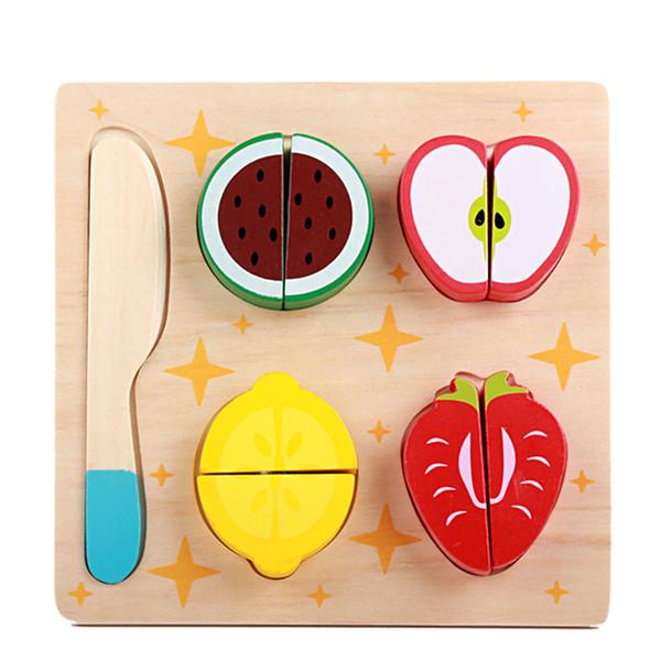 Pretend Play Kitchen Toys pour enfants Douce Montessori Classique Coupe De Fruits Pretend Play En Bois Blocs PUZ Jouet Ensemble pour Infantile Enfants